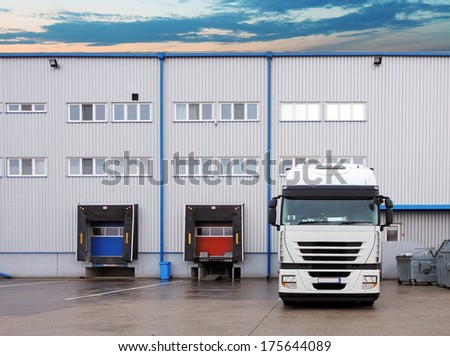 Freight Transportation - Truck in the warehouse - stock photo