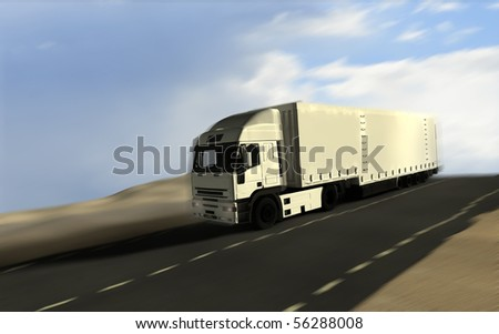 Freight truck passing by in motion blur - stock photo