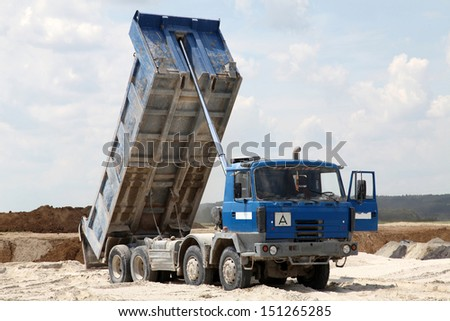 freight trucks with dump body - stock photo