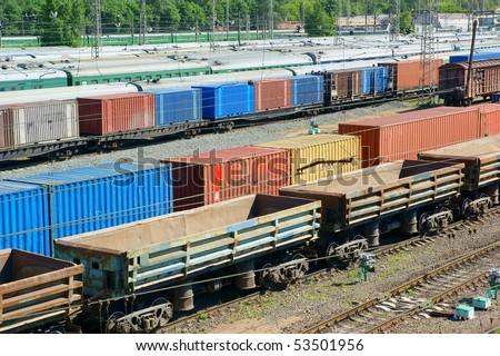 Freight wagons on cargo terminal - stock photo