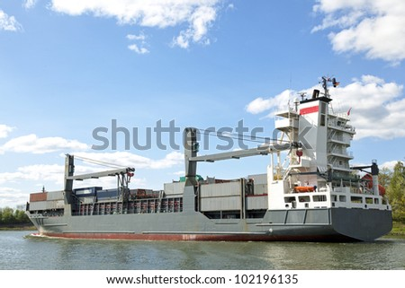 freightship,vessel on Kiel Canal, Germany