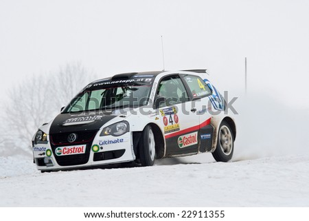 FREISTADT, AUSTRIA - JANUARY 4: Austrian driver Andreas Waldherr at  the 27th Jaenner Rallye January 4, 2009 in Freistadt, Austria.