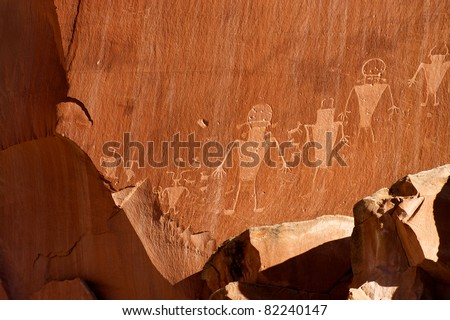 Fremont indian culture petroglyph in the National Park Capitol Reef - stock photo