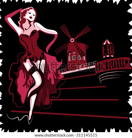 French abstract woman in cabaret Moulin Rouge in Paris (poster or card) - stock photo