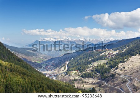 French Alps. View of Meribel ski resort. - stock photo