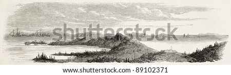 French and British fleets at Hai river mouth (formerly Pei-Ho) during second opium war. Created by Callery, published on L'Illustration, Journal Universel, Paris, 1858 - stock photo