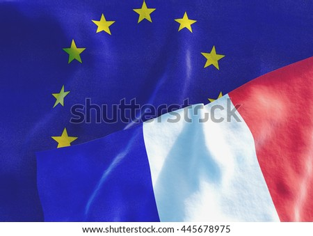 French and EU Flag. 3D render