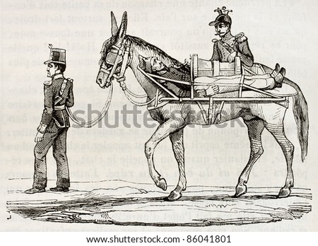 French army method of wounded soldiers transportation during Algerian war. By unidentified author, published on Magasin Pittoresque, Paris, 1842 - stock photo