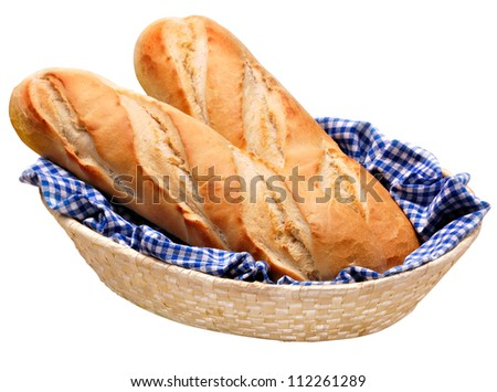 French baguette bread, freshly baked whole loaves on blue gingham check cloth in basket. Isolated on white. - stock photo