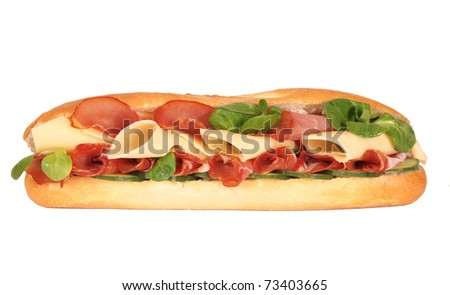 French baguette isolated - stock photo