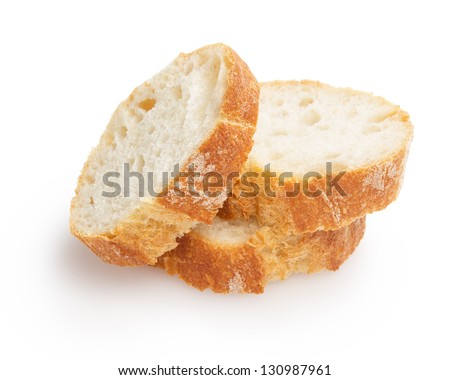 french baguette slices, isolated on white background - stock photo