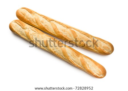 french baguettes on white background - stock photo