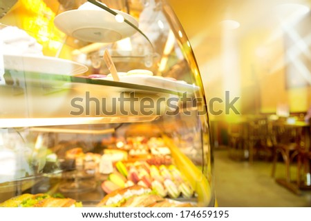 French Bar interior with showcase - stock photo