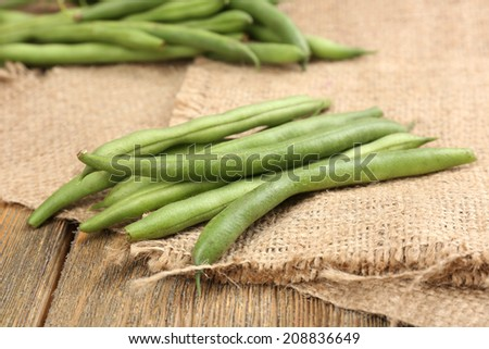 French beans on table close-up - stock photo
