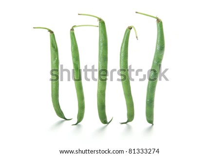 French Beans on White Background - stock photo