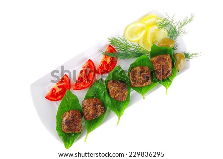 french beef meat cutlets and vegetables on white - stock photo