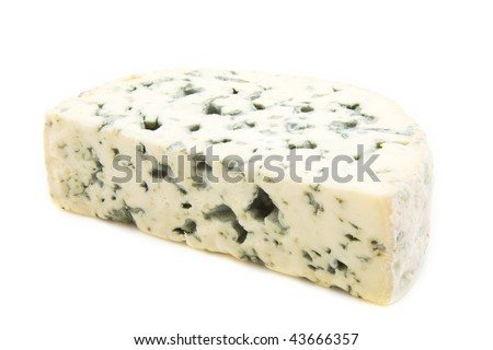 French blue cheese isolated on a white background