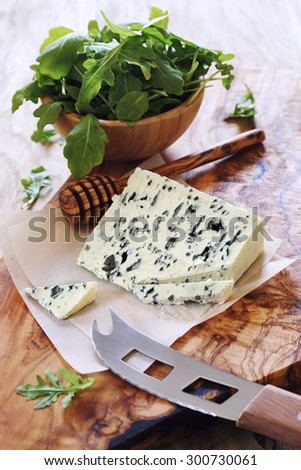 French blue cheese Roquefort and rocket salad - stock photo