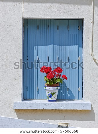 French blue shutters - stock photo