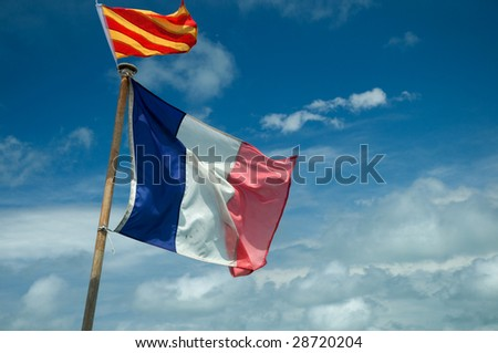 French boat with signal and national flag
