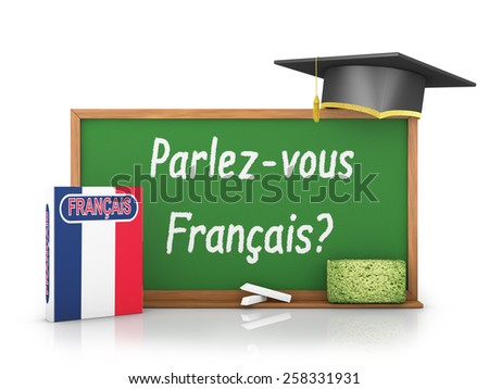 French book with a flag and a chalk board on which is written - Do you speak a French? - stock photo