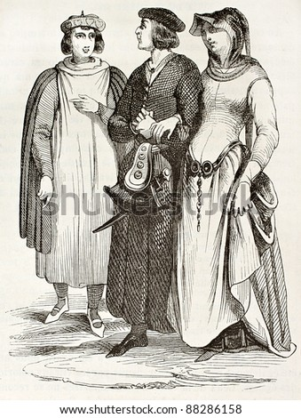 French bourgeois in traditional medieval clothes, old illustration. After manuscript of Miracles de Saint Louis,published on Magasin Pittoresque, Paris, 1844 - stock photo