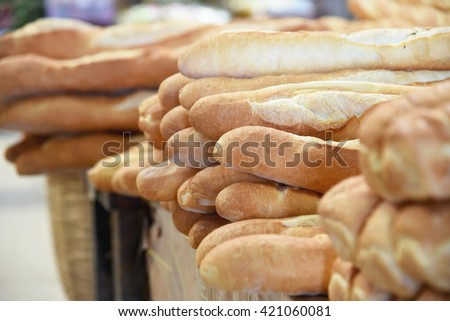 French bread in the markets of Laos. - stock photo