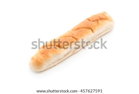 french bread on white background