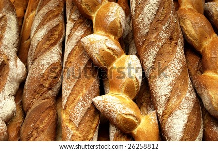 French breads in a bakery