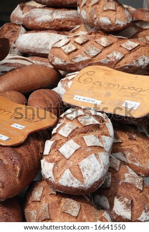 French breads in the bakery