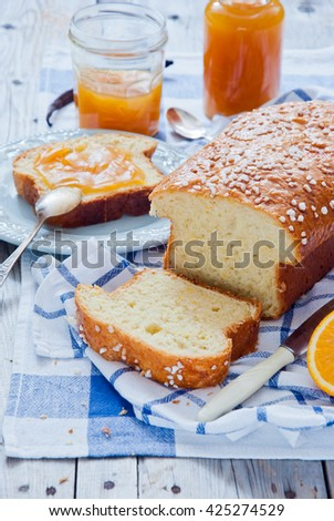 French Brioche - french sweet brioche bread with orange marmalade - stock photo