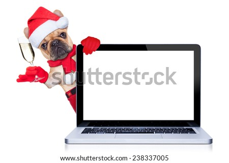 french bulldog dog ready to toast for new years eve, behind a laptop pc computer, isolated on white background - stock photo