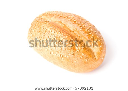 French bun with grains isolated on white background. - stock photo