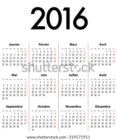 French Calendar grid for 2016. Mondays first - stock photo