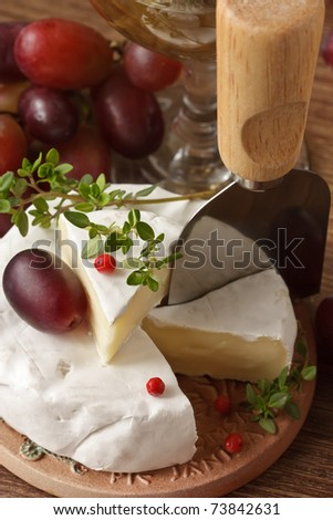 French camembert, fresh red grape and thyme.