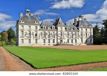 French Chateau - Cheverny - stock photo