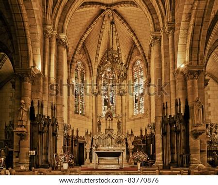 French church interior - stock photo