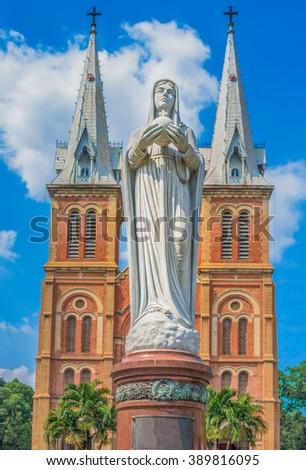 French colonial basilica in Saigon (Ho Chi Minh City), Vietnam - stock photo