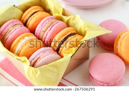 French colorful macarons in box - stock photo