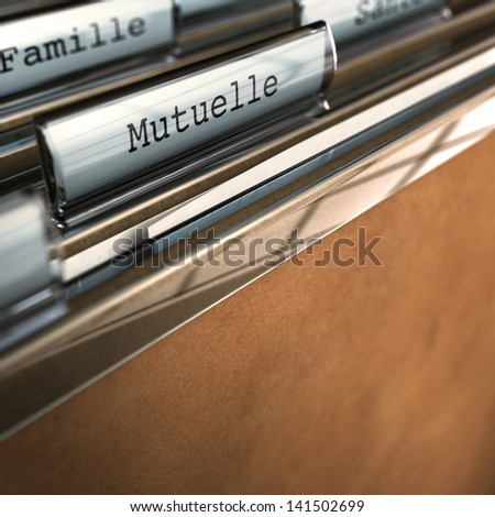 """French concept, Word """"Mutuelle"""" written on a folder. Conceptual 3D render for insurance purpose - stock photo"""