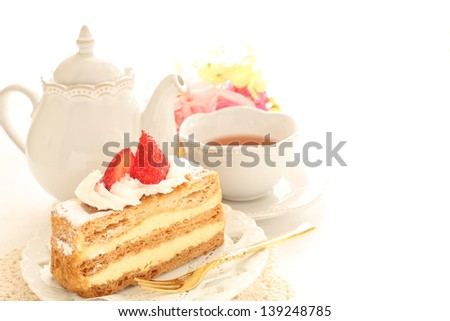french confectionery, strawberry mille-feuille and English tea