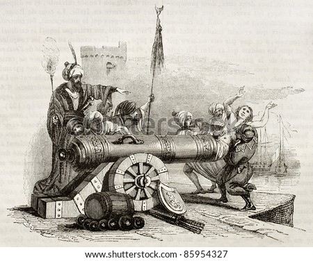French consul in Algiers (vicar Apostolic Jean Le Vacher) inserted in a cannon and shot as reprisal for Algiers bombing by French fleet. By unknown author, publ. on Magasin Pittoresque, Paris, 1842 - stock photo
