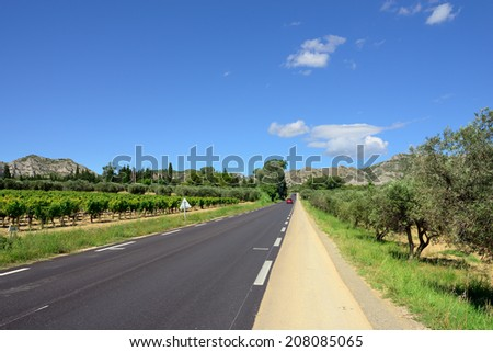 French countryside landscape. Road to foothill of Alpe mountain, Provence, France - stock photo