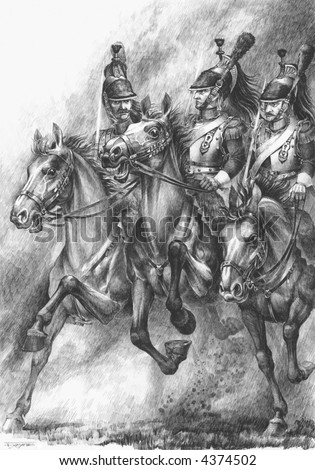 French Cuirassiers In The Battle Of The Waterloo - stock photo