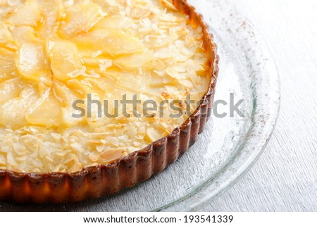 French cuisine pie with apricots and almonds