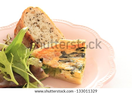 french cuisine, regional food spinach and bacon Quiche
