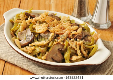 French cut green beans with sauteed mushrooms and french fried onions - stock photo