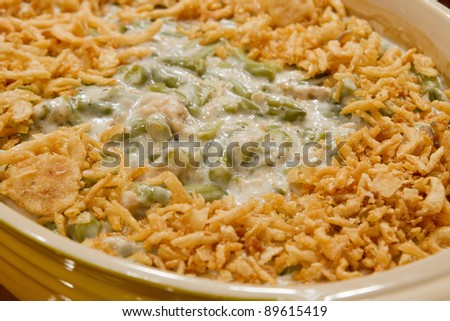 French Cut String Beans with Fried Onions Casserole Holiday Dish - stock photo
