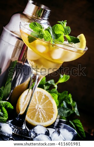 French daiquiri, alcohol cocktail with lemon juice, sugar syrup, cognac, mint and ice cubes, black background, selective focus - stock photo