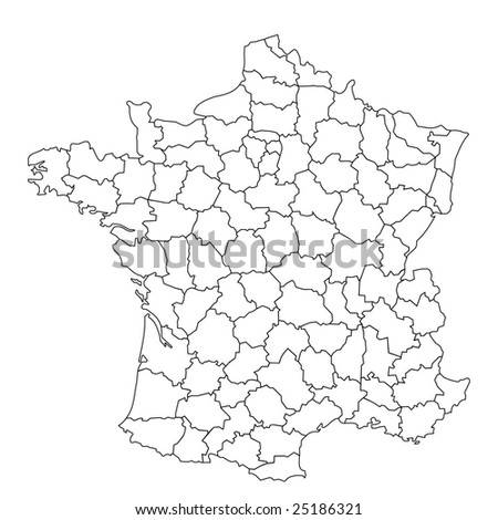 French Department isolated on white background. - stock photo